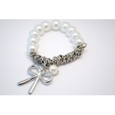 Parel Armband Met Zilveren Strik