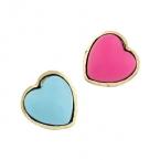 Blauw & Roze Harten Oorbellen