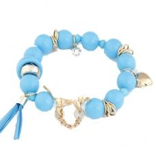 Blauwe Kralen Met Gouden Bedeltjes Armband