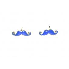 Blauwe Snor Oorbellen