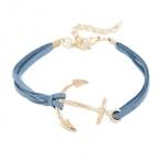 Blauw Met Gouden Anker Armband
