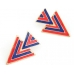 Blauw Met Rode Driehoeken Oorbellen