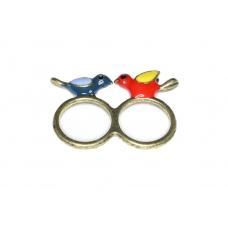 Blauw Met Rode Vogeltjes Ring