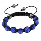 Blauw Met Zwarte Shamballa Armband