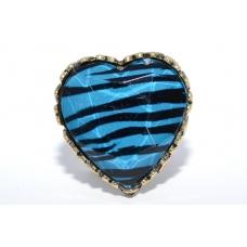 Blauwe Tijger in Hartvorm Ring