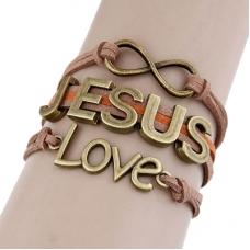 Bruine Jesus Love Armband