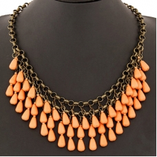 Donker Goud Met Oranje Stenen Ketting