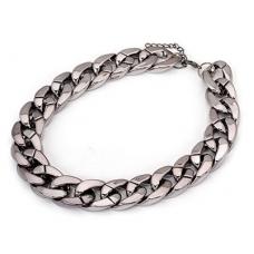 Donker Zilveren Chain Halsketting