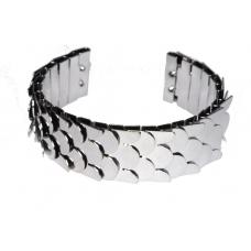 Donker Zilveren Schubben Armband