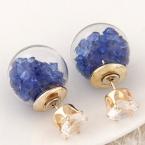 Goud Met Blauwe Stenen Kristal Oorbellen