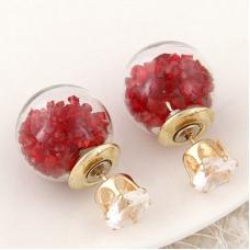 Goud Met Rode Stenen Kristal Oorbellen
