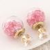 Goud Met Roze Stenen Kristal Oorbellen