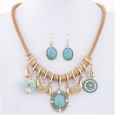 Goud Met Turquoise Bohemia Ketting En Oorbellen Set