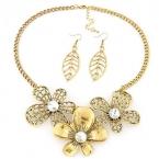 Gouden Bloemen Met Kristallen Ketting En Oorbellen Set