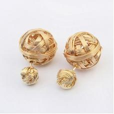 Gouden Bol Wol Oorbellen