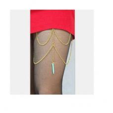Gouden Chains Met Turquoise Steen Bovenbeen Ketting