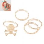 Gouden Doodskop Knuckle Ringen Set