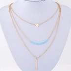 Gouden Driehoek & Turquoise Staaf Ketting