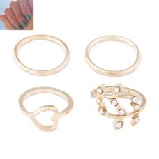 Gouden Hart & Blad Knuckle Ringen Set
