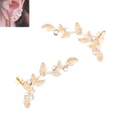 Gouden Kristallen Bladeren Oorbellen