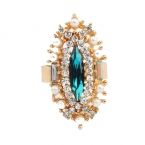 Gouden Kristallen Met Blauwe Kristal Ring