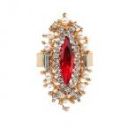 Gouden Kristallen Met Rode Kristal Ring