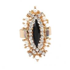Gouden Kristallen Met Zwarte Kristal Ring