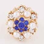 Gouden Parel Met Blauwe Stenen Ring