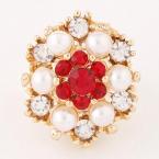 Gouden Parel Met Rode Stenen Ring