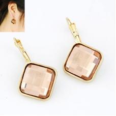 Gouden Square Rosé Kristal Oorbellen