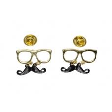 Gouden Bril Met Zwarte Snor Kraag Decoratie
