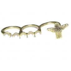 Gouden Drievinger Ring Met Parels