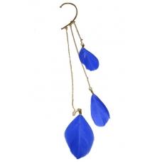 Gouden Ear Cuff Met Blauwe Veren