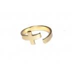 Gouden Gebogen Kruis Ring