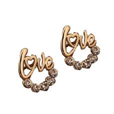 Gouden Love Met Kristallen Oorbellen