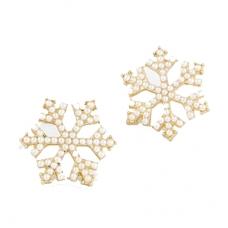 Gouden Parel Sneeuwvlokje Oorbellen