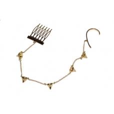 Gouden Pinnen Ear Cuff Met Kam