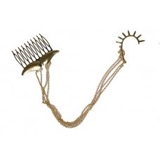 Gouden Spike Ear Cuff Met Snor Kam