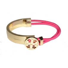 Gouden Zegel Armband Met Roze Elastiek