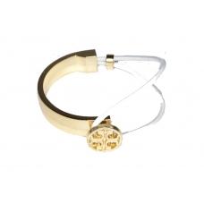 Gouden Zegel Armband Met Witte Elastiek