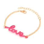Goud Met Candy Roze Love Armband