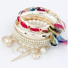 Goud Met Gekleurde Armbanden Set