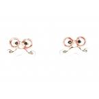 Ogen Met Rode Bril & Witte Snor Oorbellen