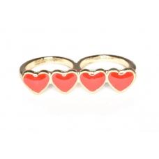 Goud Met Rode Harten Ring