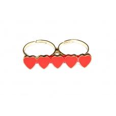 Goud Met Rode Hartjes Ring
