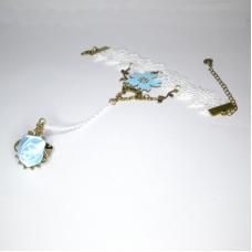 Goud Met Turquoise Roos Handketting
