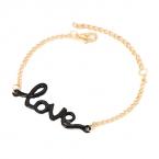 Goud Met Zwarte Love Armband