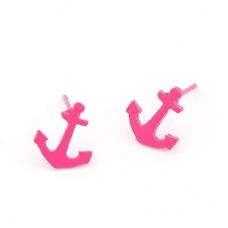 Kleine Roze Anker Oorbellen