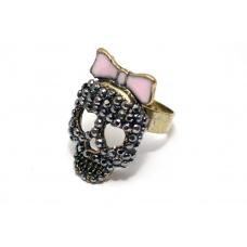 Kristallen Doodskop Ring met Roze strik
