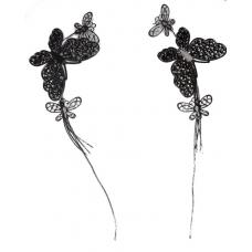 Lange Donker Zilveren Vlinder Oorbellen